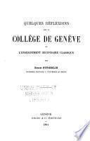 Quelques réflexions sur le Collège de Genève et l'enseignement secondaire classique