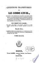 Questions transitoires sur le Code civil