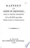 Rapport du comité de liquidation, sur la dette ancienne