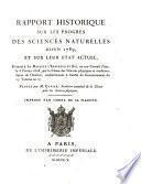 Rapport historique sur les progrès des sciences naturelles depuis 1789, et sur leur état actuel,
