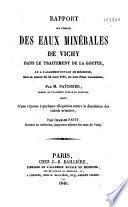 Rapport sur l'emploi des eaux minérales de Vichy dans le traitement de la goutte