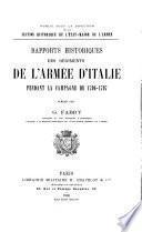 Rapports historiques des régiments de l'armée d'Italie pendant la campagne de 1796-1797