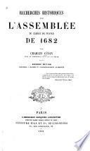 Recherches historiques sur l'Assemblbée du clergé de France de 1682
