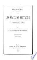 Recherches sur les états de Bretagne
