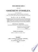 Recherches sur les ossemens fossiles