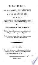 Recueil De Rapports, De Mémoires Et d'Expériences Sur Les Soupes Économiques Et Les Fourneaux A La Rumford
