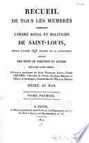 Recueil de tous les membres composant l'Ordre royal et militaire de Saint-Louis, depuis l'année 1693, époque de sa fondation