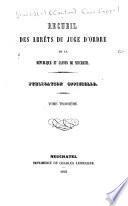 Recueil des arrêts du juge d'ordre de la république et canton de Neuchâtel