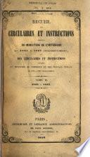 Recueil des circulaires et instructions émanées du Ministère de l'Interieur et des circulaires et instructions émanées du Ministère du Commerce et des Travaux Publics
