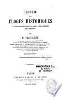 Recueil des éloges historiques lus dans les séances publiques de l'Académie des Sciences