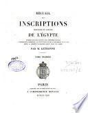 Recueil des inscriptions grecques et latines de l'Egypte