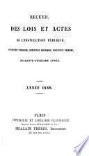 Recueil des lois et actes de l'instruction publique