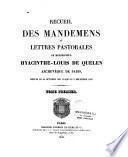 Recueil des mandemens et lettres pastorales