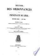 Recueil des ordonnances de la Principauté de Liège