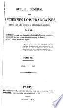 Recueil général des anciennes lois françaises