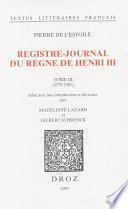 Registre-journal du règne de Henri III. Tome III, 1579-1581