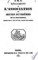 Règlement de l'association des jeunes ouvrières de la Providence