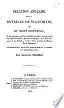 Relation anglaise de la bataille de Waterloo ou du Mont Saint-Jean