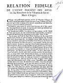 Relation fidèle de l'estat présent des affaires du Monastère de la visitation de Sainte Marie d'Angers