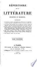 Répertoire de la littérature ancienne et moderne