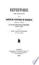 Répertoire des travaux de la Société de Statistique de Marseille