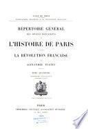 Répertoire général des sources manuscrites de l'histoire de Paris pendant la Révolution française