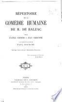 Répetoire de la Comédie humaine de H. de Balzac