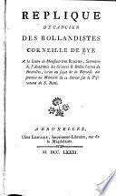 Replique de l'ancien des Bollandistes, Corneille de Bye