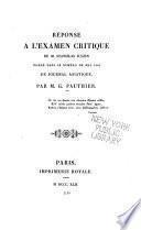 Réponse à l'Examen critique de M. Stanislas Julien inséré dans le numéro de mai 1841 du Journal asiatique