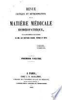 Revue critique et retrospective de la matiere medicale homoeopathique