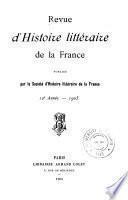 Revue d'histoire littéraire de la France