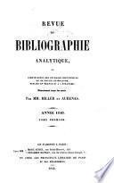 Revue de bibliographie analytique