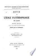 Revue de l'Ecole d'anthropologie de Paris