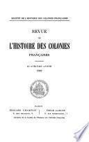 Revue de l'histoire des colonies françaises