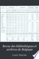 Revue des bibliothèques et archives de Belgique