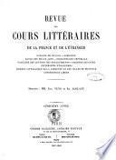 Revue des cours litteraires de la France et de l'etranger litterature, philosophie, theologie, eloquence..