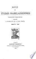Revue des études rabelaisiennes