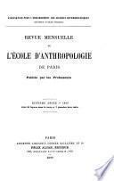 Revue mensuelle de l'École d'Anthropologie de Paris