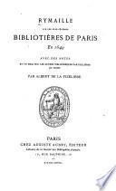 Rymaille sur les plus célèbres bibliotières de Paris en 1649