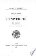 Séance de rentrée de l'Université de Nancy
