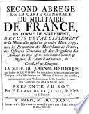 Second Abrege De La Carte Générale Du Militaire De France, En Forme De Suplement