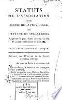 Statuts de l'association des Soeurs de la Providence de l'evêché de Strasbourg