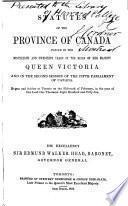 Statuts de la province du Canada