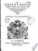 Stile et règlement sur le faict de la justice et instruction des procès, dréssé par le sénat de Chambéry