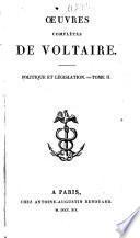Œuvres complétes de Voltaire: Politique et législation