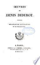 Œuvres de Denis Diderot: Mélanges de littérature et de philosophie