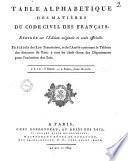 Table alphabétique des matières du code civil des français