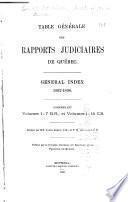 Table générale des rapports judiciaires de Québec