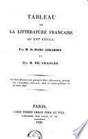 Tableau de la littérature française au XVIe siècle...