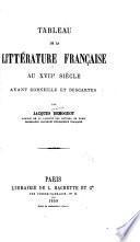 Tableau de la littérature française au XVIIe siècle